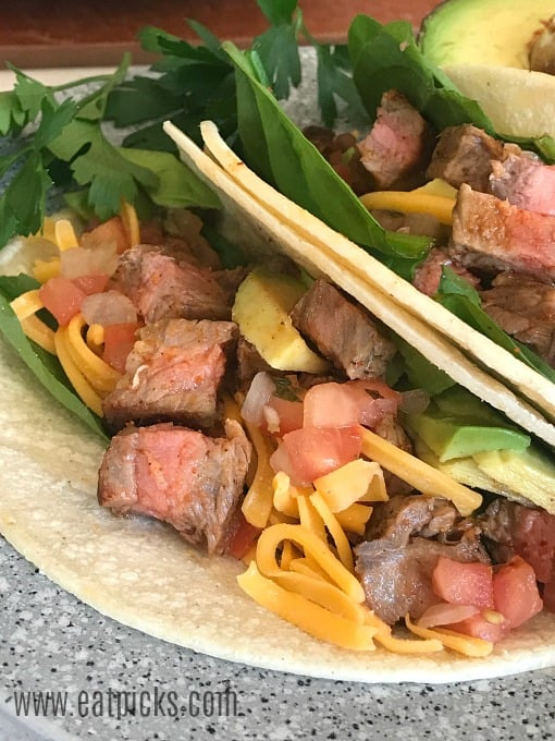 Steak Taco with the fixings, perfect for Taco Tuesday or National Taco Day