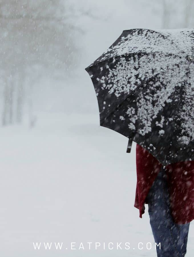 Prepare for winter storm person walking in snow with umbrella