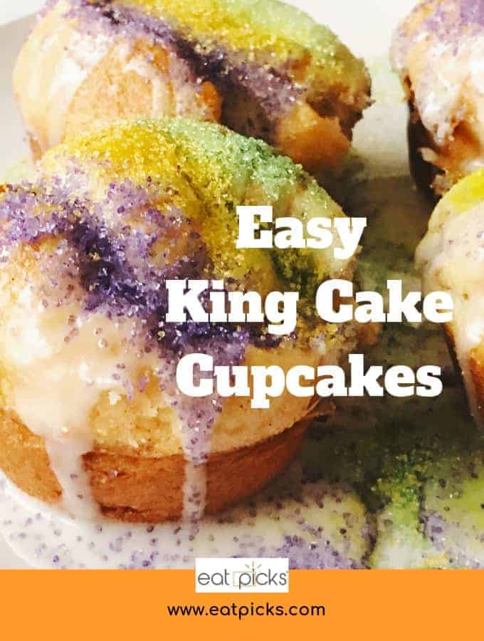 Easy King Cake Cupcakes using Pillsbury Crescent Rolls! These are simple and delicious! #MardiGras #KingCake #Cupcakes