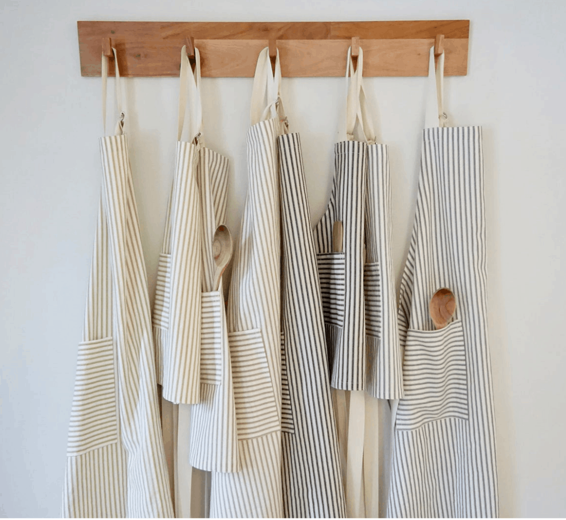 Farmhouse aprons on hook