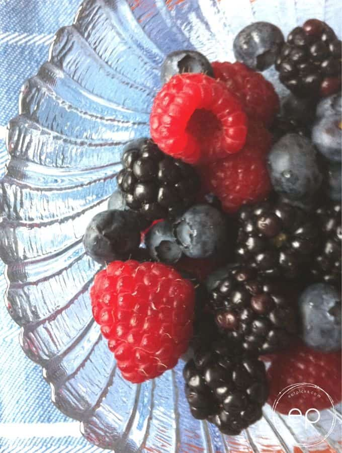 Mixed berries in clear bowl