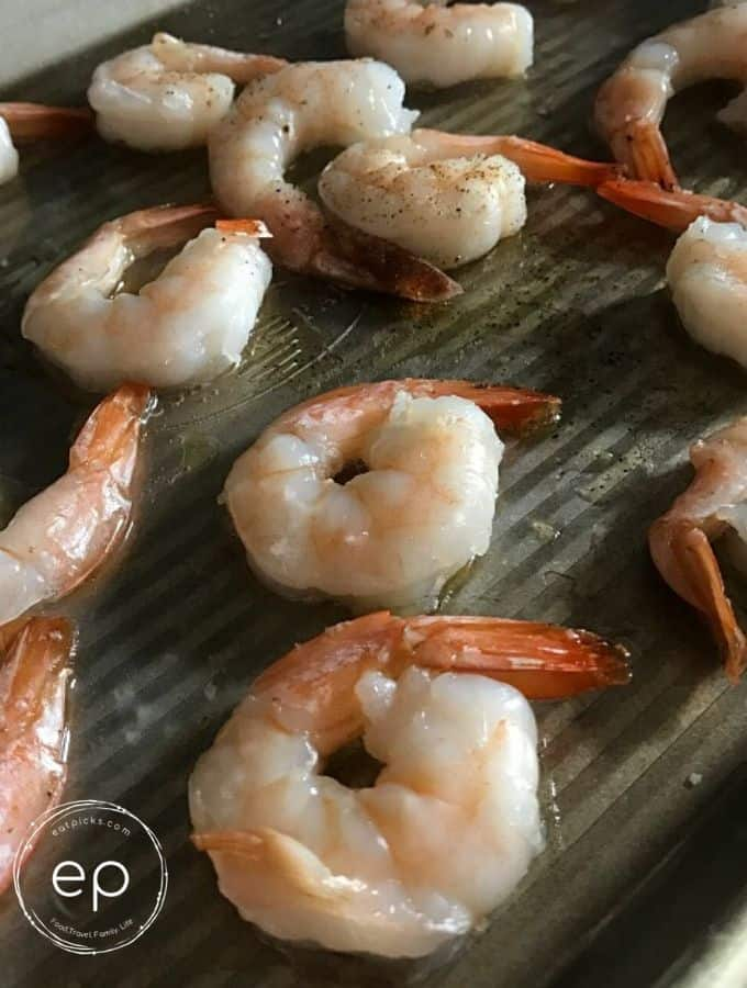 Shrimp on tray
