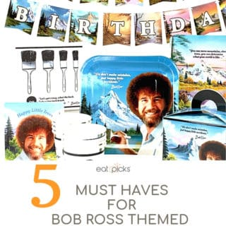 5 Things for Bob Ross Themed Birthday Party party supplies
