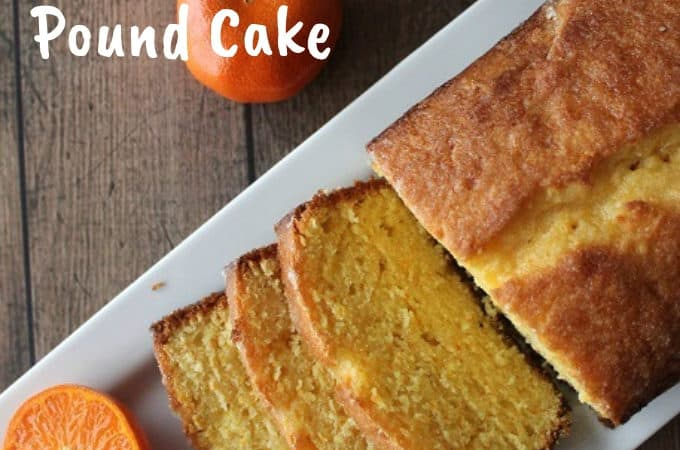 Clementine Pound Cake on table with clementines
