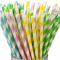 200 Count Paper Straws,Box Package,4 Fresh Color 7.75 Inch Drinking Straws