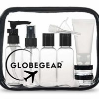 GLOBEGEAR Travel Bottles TSA Approved Toiletry Bag Clear Quart Size with Leak-Proof Travel Accessories