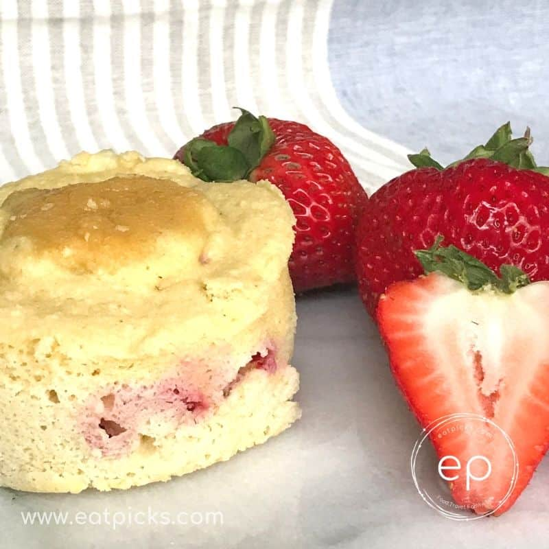 Strawberry Almond Keto Mug Muffin is Gluten Free and full of fresh strawberries