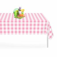 Pink Checkered Gingham 6 Pack Premium Disposable Plastic Tablecloth 54 Inch. x 108 Inch. Rectangle Table Cover By Grandipity