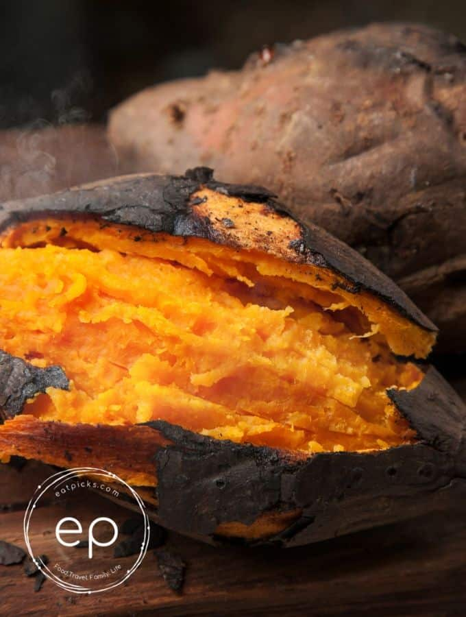 Baked Sweet Potato sliced open