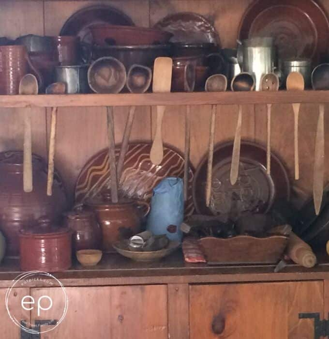 Wooden spoons in hutch