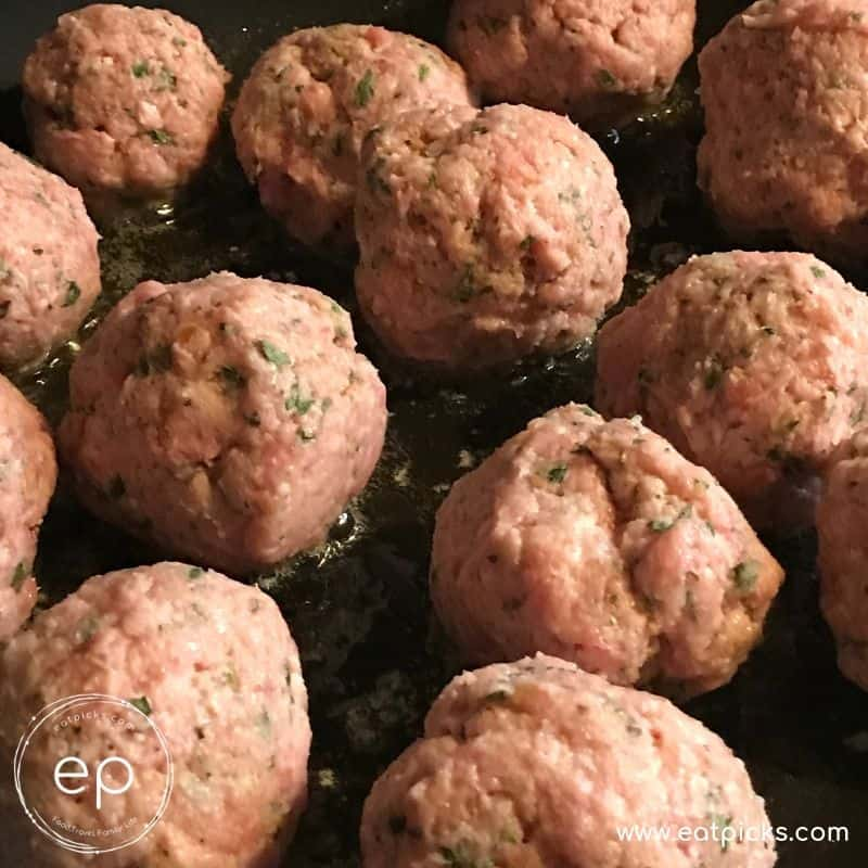 Ground Veal Meatballs in Cast iron Pan