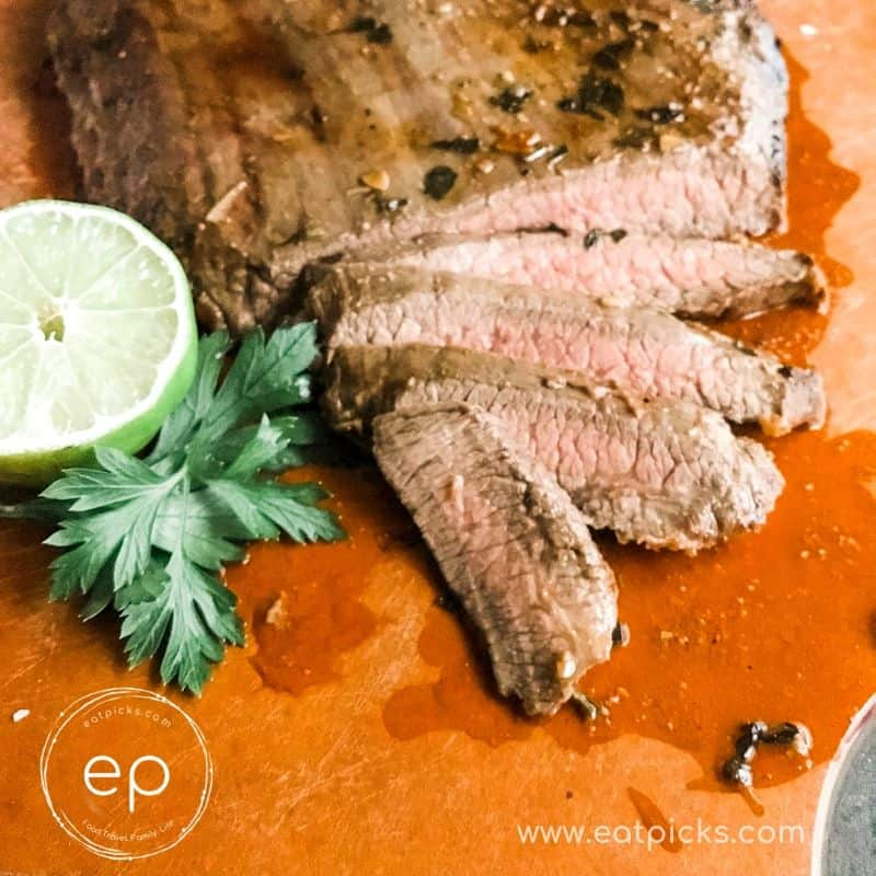 Garlic Lime Flank Steak with lime