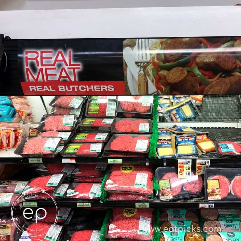 Super market meat case with burger and flank steak
