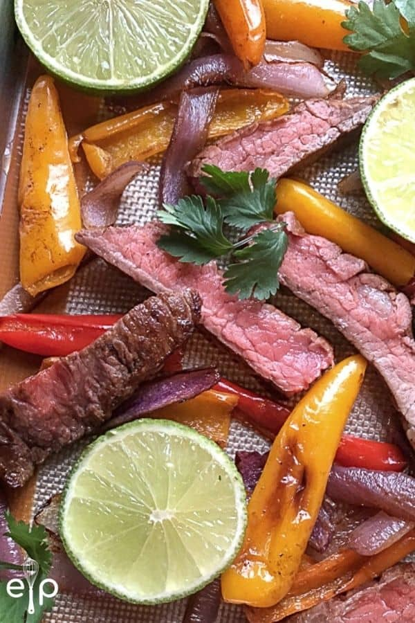 Steak fajitas on pan