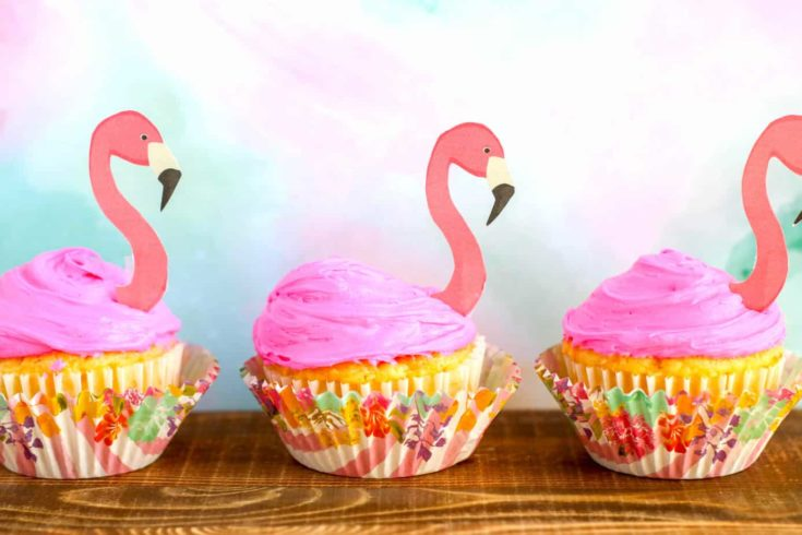 Flamingo Cupcakes with cupcake toppers